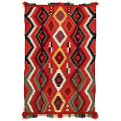 Vintage Navajo Germantown Blanket, circa 1890, Red Field Eye-Dazzler Pattern