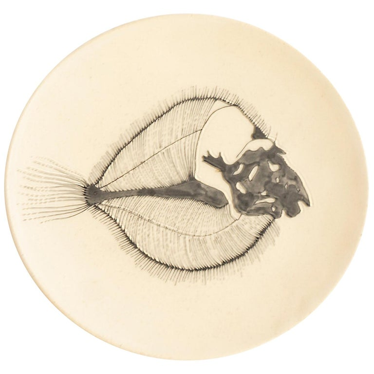 Small Handmade Ceramic Plates with Fish Fossil Illustration For Sale