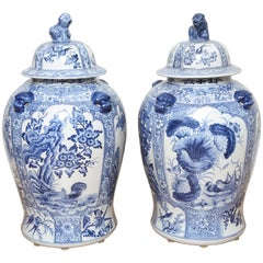 Monumental Pair of Blue and White Chinese Ginger Jars