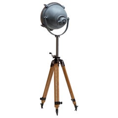 Floor Lamp Searchlight Spot Light, on Wooden Tripod, Francis, circa 1950