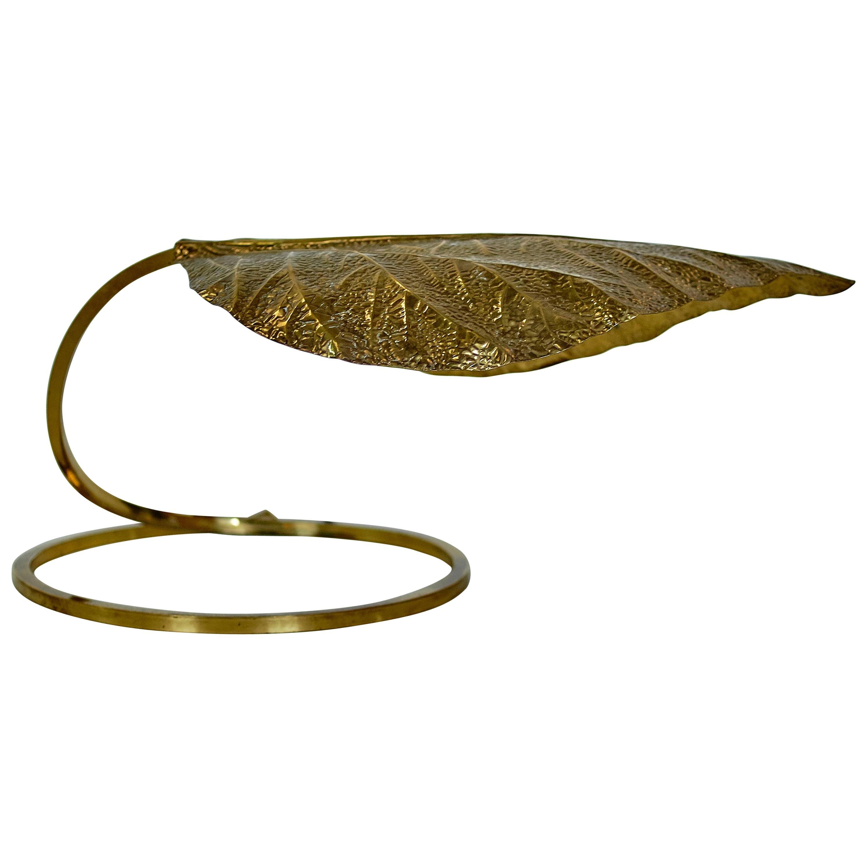 Tommaso Barbi Brass Leaf Lamp, 1970