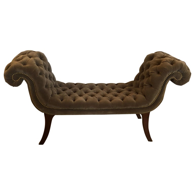 Superb 19th Century English Regency Tufted Velvet Bench For Sale