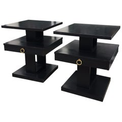 Pair of Lane Stacked End Tables in Black