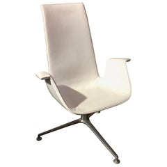 Walter Knoll White Leather FK Bucket Chair with 3-Star Base