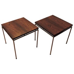 Pair of Danish Modern Rosewood and Chrome End Tables by Knud Joos