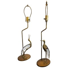 Pair of Art Deco Crane Bird Brass with Glass Body Table Lamps
