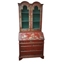 18th Century style Chinoiserie Red Lacquer Bureau Bookcase