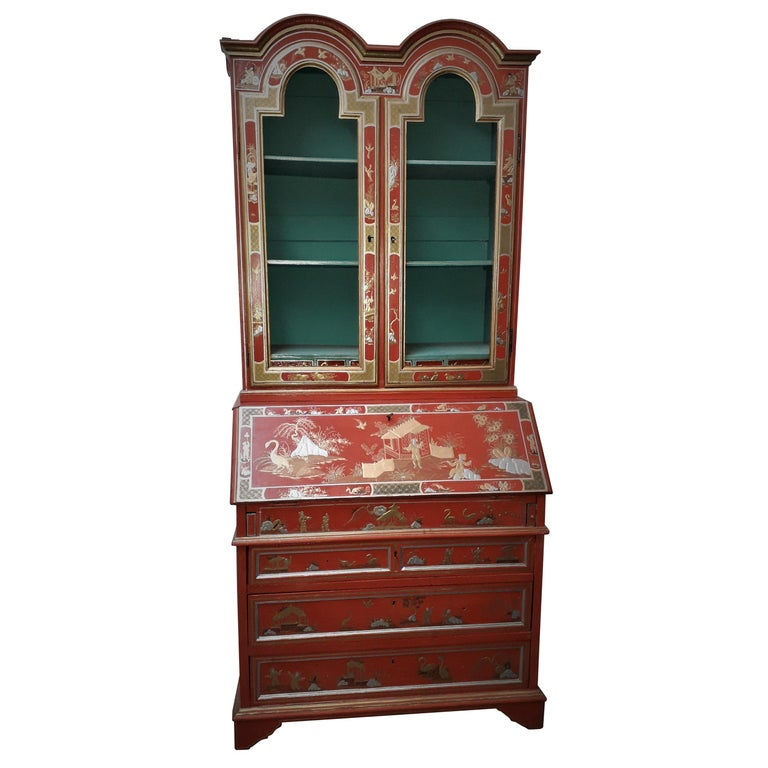 18th Century style Chinoiserie Red Lacquer Bureau Bookcase For Sale