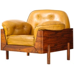 Lounge Chair in Jacaranda and Yellow Leather by J.D. Moveis e Decoracoes