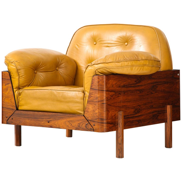 Lounge Chair in Jacaranda and Yellow Leather by J.D. Moveis e Decoracoes For Sale
