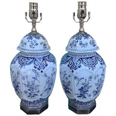 Pair of 19th Century Dutch Delft Blue and White Lamps