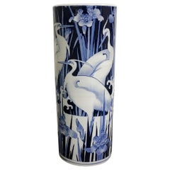 Blue and White Bird Umbrella Stand