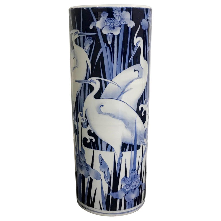Umbrella Stand Blue And White: Blue And White Bird Umbrella Stand For Sale At 1stdibs