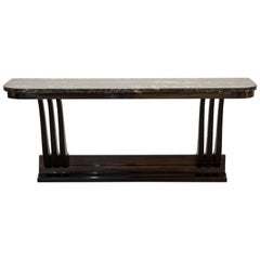 Antique French Art Deco Console Table with Original Marble Top from 1930