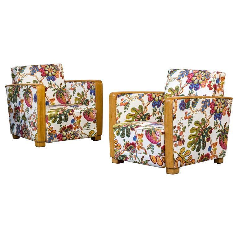 Antique French Art Deco Lounge Chairs New Upholstery Josef Frank Fabric, 1930s For Sale