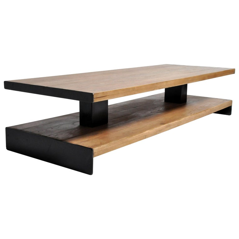 Oak Wood Coffee Table with Metal Trim For Sale