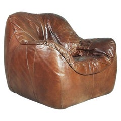 Brown Leather Patchwork Round Dutch Large Armchair, 1970s