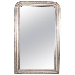 French Louis Philippe White Gold Leaf Framed Mirror with Scrafitto Etching