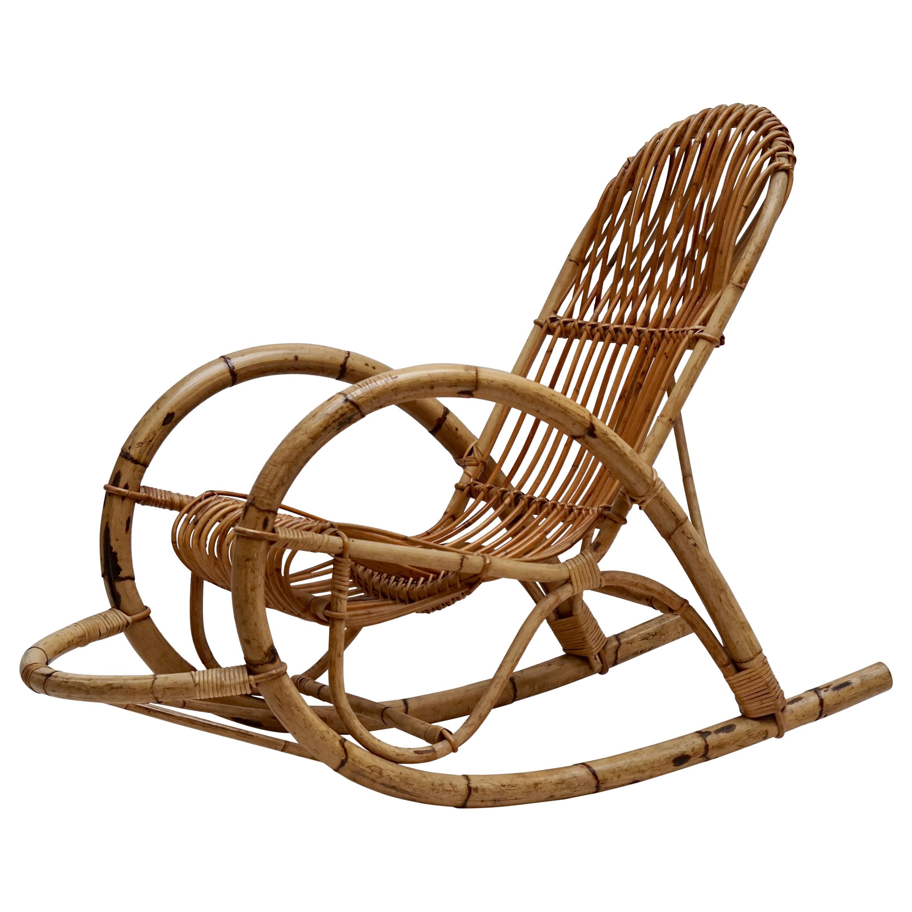 Franco Albini Style Wicker Bamboo Rocking Chair