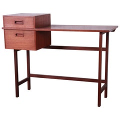 Swedish Modern Petite Teak Vanity Desk or Console Hall Table by AB Glas & Trä