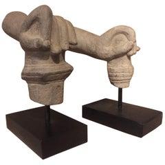 2 Khmer Stone Mudra Hands