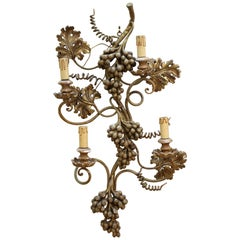 Italian Hollywood Regency Florentine Grape Wall Sconce