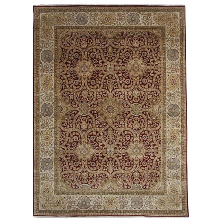 Traditional Handwoven Vegetable-Dyed Mughal Style Indo Rug