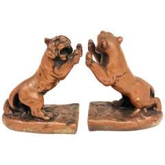 Pair of Rare Galvano Bronze Roaring Tiger Bookends circa 1920s