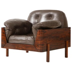 Brazilian Lounge Chair in Jacaranda and Brown Leather