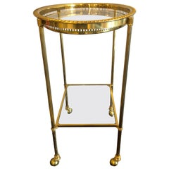 Brass Hollywood Regency Bagues Style Serving Wagon or Tray Table or Bar Cart