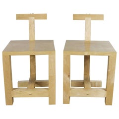Pair of Postmodern Handcrafted Maple Chairs Signed Brice B. Durbin 1996