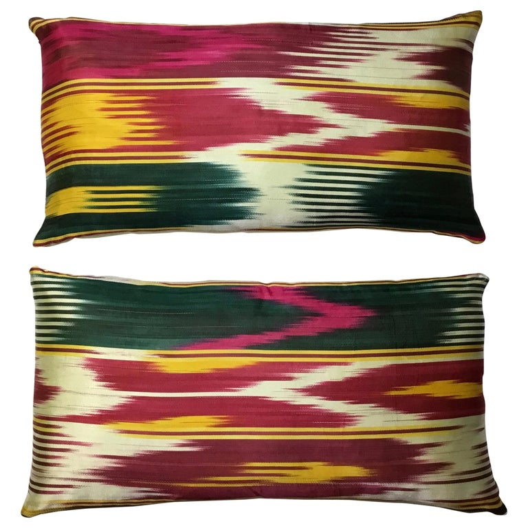 Pair of Vintage Silk Ikat Pillows For Sale