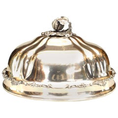 English Victorian Silver Plate Dome Shaped Tray Cover