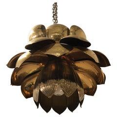 Large Mid-Century Modern Brass Lotus Flower Chandelier Pendant