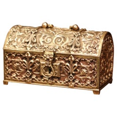 19th Century French Gothic Bombe Bronze Doré Jewelry Box with Floral Motifs
