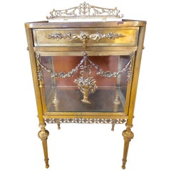 Antique Louis XVI Style Bronze / Glass Vitrine Cabinet or Nightstand
