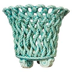 Turquoise Ceramic Rope Cachepot
