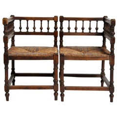 Pair of French Wooden Corner Chairs