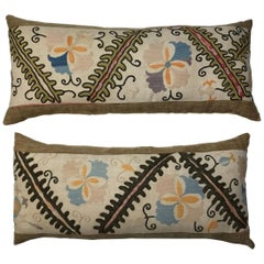 Pair of Antique Hand Embroidery Suzani Pillows