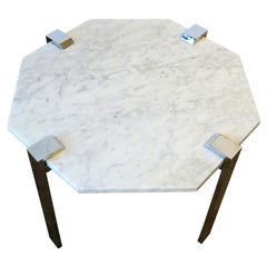 Italian Modern Octagonal Carrara Marble and Chrome Table