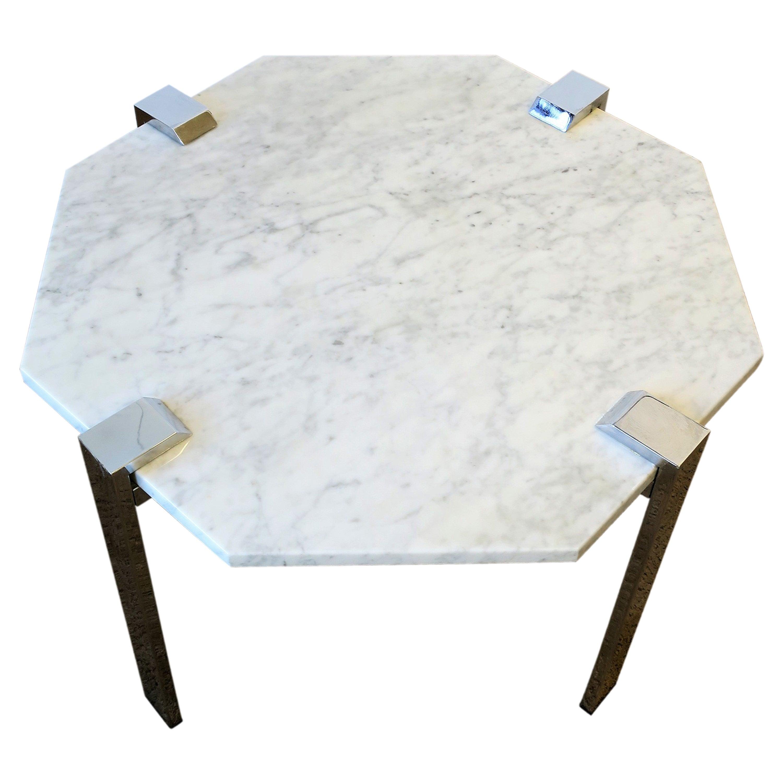 Italian Modern Octagonal Carrara Marble and Chrome Table