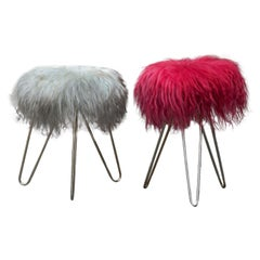 Colored Lambs Wool Vanity Stools
