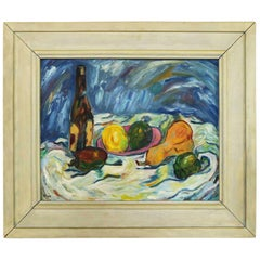 Midcentury Still Life with Fruit and Wine Bottle by Lee Tonar, 1959