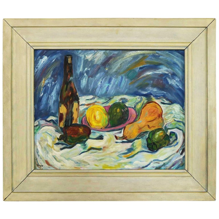 Midcentury Still Life with Fruit and Wine Bottle by Lee Tonar, 1959 For Sale