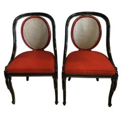 Pair of Ebony and Red Hollywood Regency Style Swan Head Arm or Office Chairs