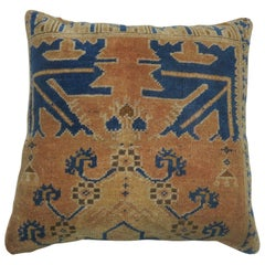 Vintage Turkish Blue and Peach Rug Pillow