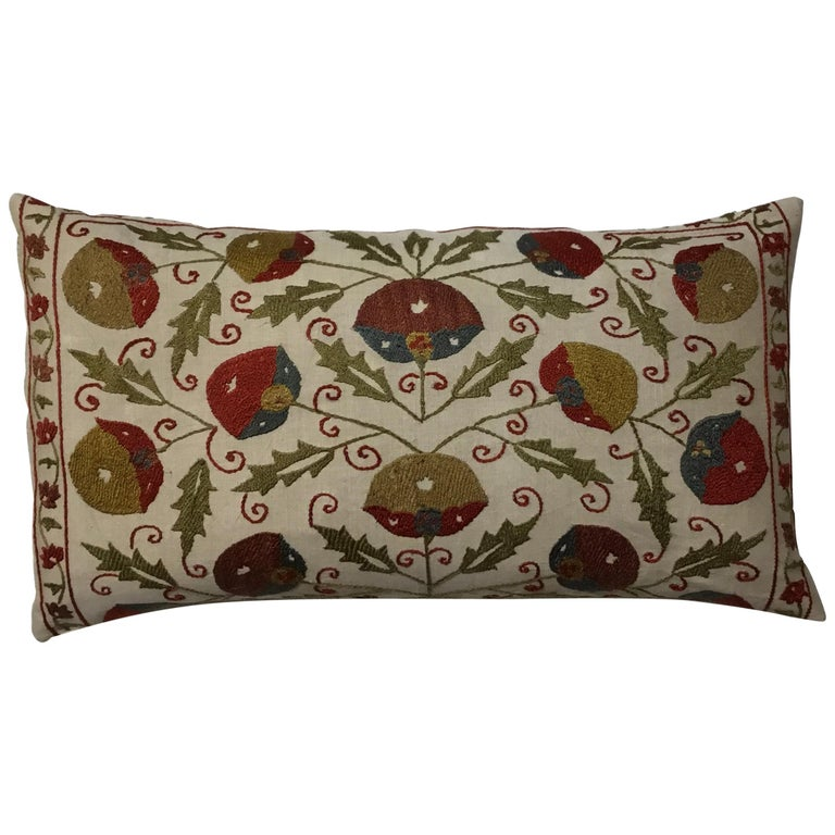 Hand Embroidery Suzani Pillow For Sale