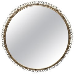 Huge Round Josef Frank Mirror in Brass by Svenskt Tenn in Sweden 1950s