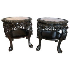 Pair of Chinese 19 Century Teak-Wood Marble Top Stands or End Tables