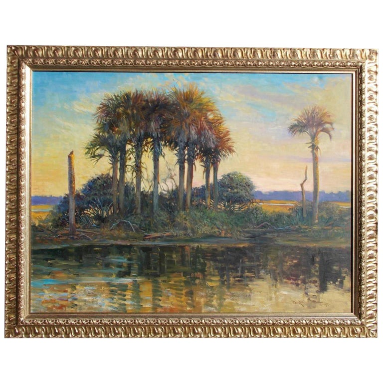 American Oil on Canvas Low Country Island in Original Gilt Frame, John C. Doyle For Sale